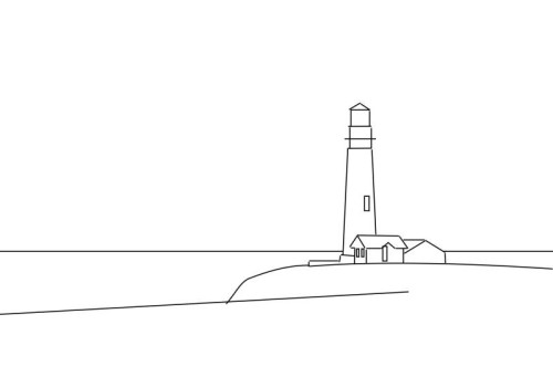 Drawing Using Horizon Lines : How to draw a lighthouse — online art lessons