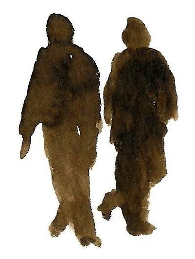 two figures walking