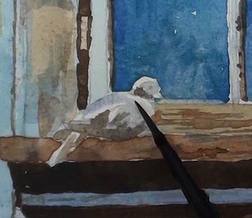 painting the dove at  window in watercolor
