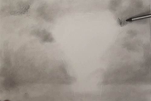 establishing the tonal values of the background of the elephant drawing