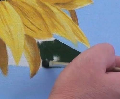painting the leaves and stem