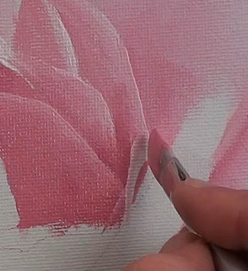 how to paint a rose in acrylic white line thickness petal