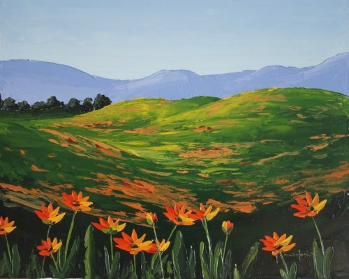 final painting of the flowers in a meadow