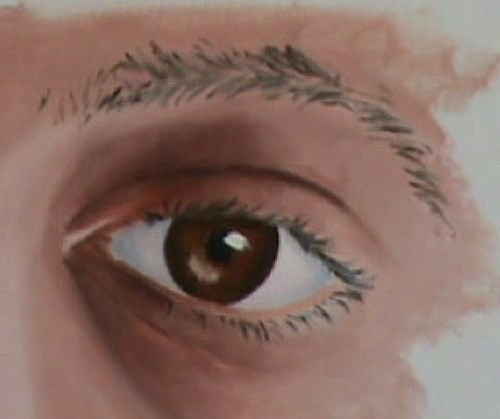 painting the eyelashes and eyebrow