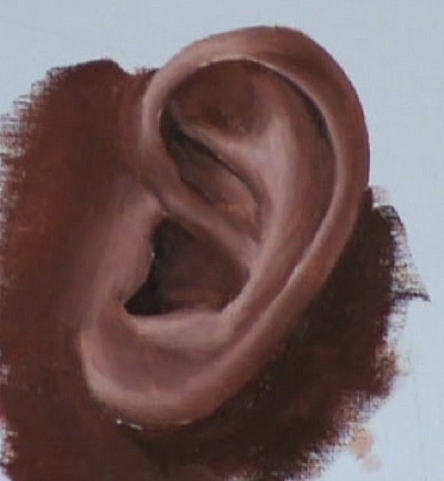blending the paint of the ear