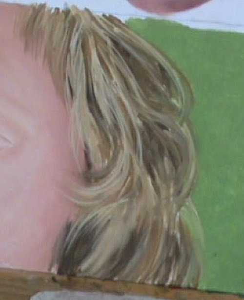 adding the highlights to the hair
