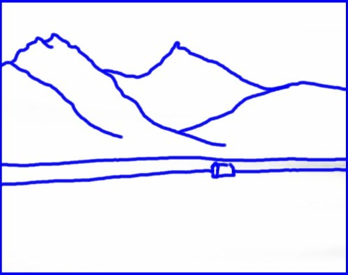 template for the painting snowy mountains
