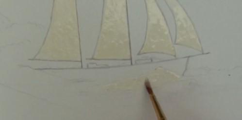 adding masking fluid to the sails
