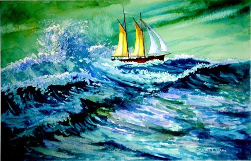 final painting ship riding a storm