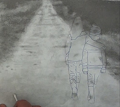 Drawing the pathway and adding detail to the foreground