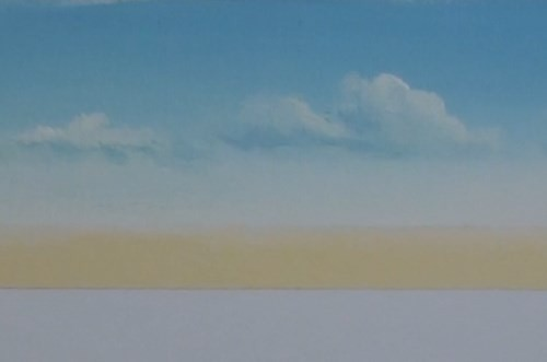 painting clouds - beach scene in acrylic