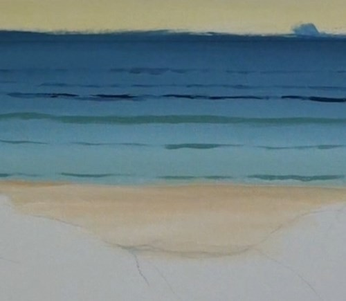 painting waves - beach scene in acrylic