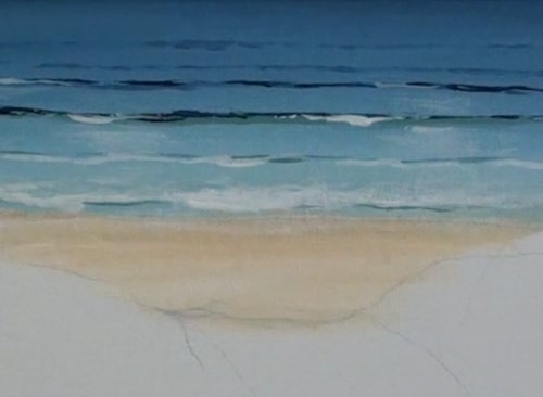 painting waves breaking - beach scene in acrylic