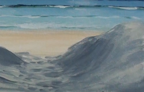 painting sand dunes - beach scene in acrylic
