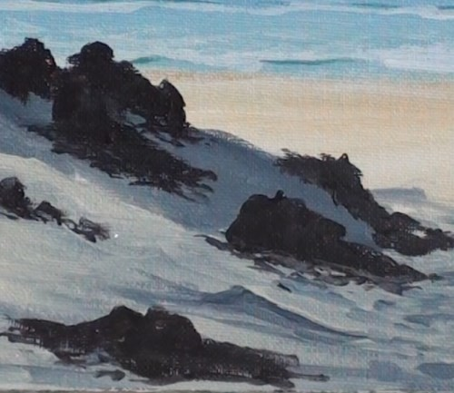 painting grass on the dunes - beach scene in acrylic