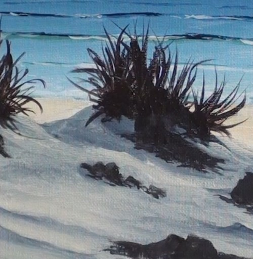 adding multitude grass - beach scene in acrylic