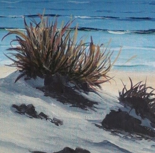 adding color to the grass - beach scene in acrylic