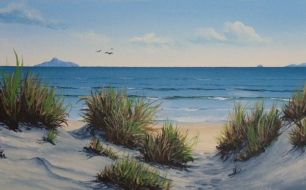 final painting beach scene in acrylic