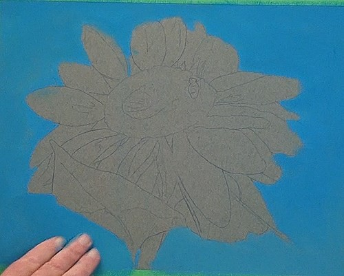 drawing the background - sunflower in pastel