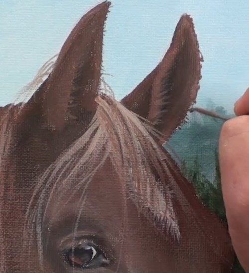 painting mane - horse portrait in acrylic
