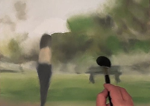 painting a blurred effect of the background - how to paint raindrops in oil