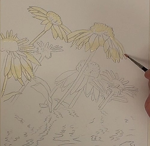masking the flowers - how to paint flower reflections in watercolor
