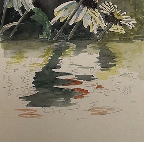 painting the water reflections - how to paint flower reflections in watercolor