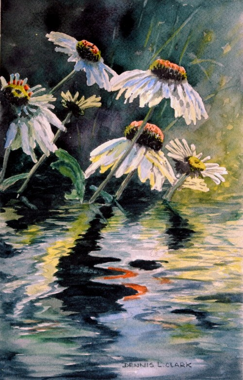 how to paint flower reflections in watercolor