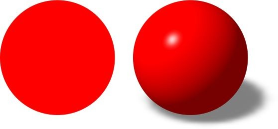 Flat disk and round ball side by side