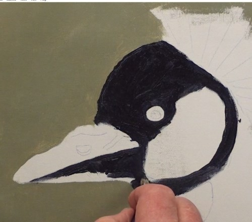how-to-paint-a-crown-crested-crane-in-acrylic-face