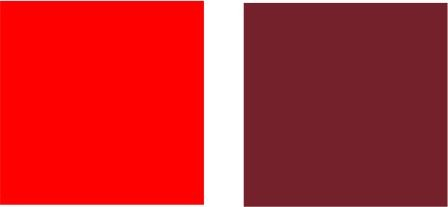 Two reds showing their bias towards a secondary color