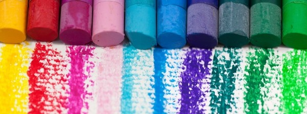 Row of coloured pastel sticks