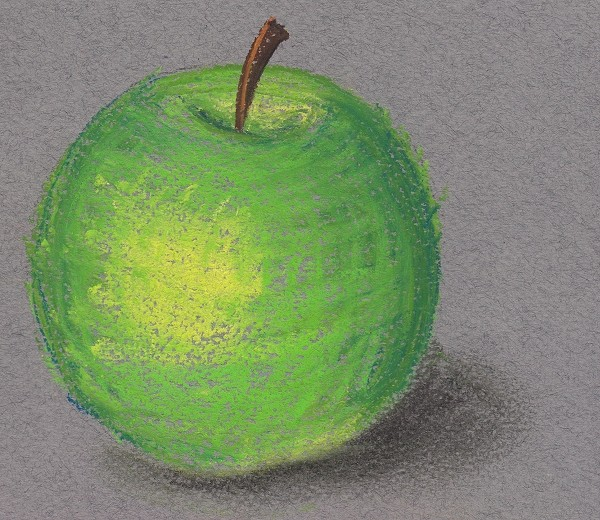 Drawing of a cross hatched apple