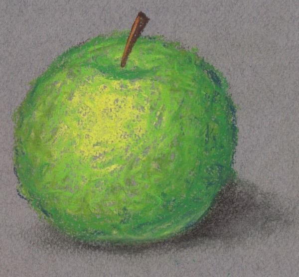 Drawing of a scumbled apple