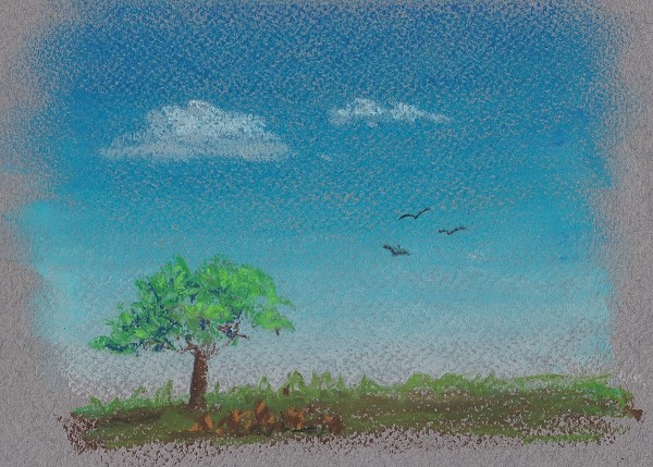 Landscape drawn using pastel showing stippled leaves and rocks