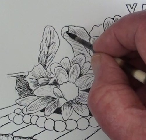 drawing-flowers-on-a-piano-in-pen-and-ink-stems-leaves