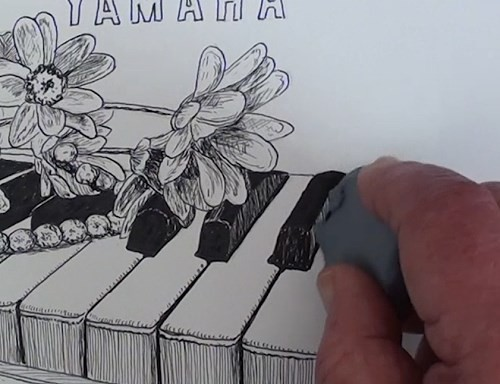 drawing-flowers-on-a-piano-in-pen-and-ink-erasing-lines