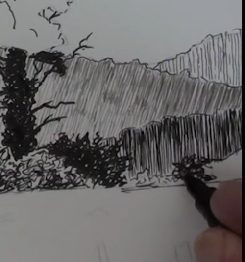 how-to-draw-a-meadow-scene-landscape-in-pen-and-ink-closer-hill