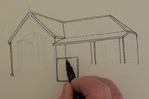 Begin The Outlining Of House First Before Any Detailing Starts This Will Bring Whole Structure Into View Notice That Not All Lines Are Solid