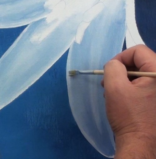 For The Next Petal Use First Technique And Cover With White Then Blend In Blue Values It May Take Several Layers As