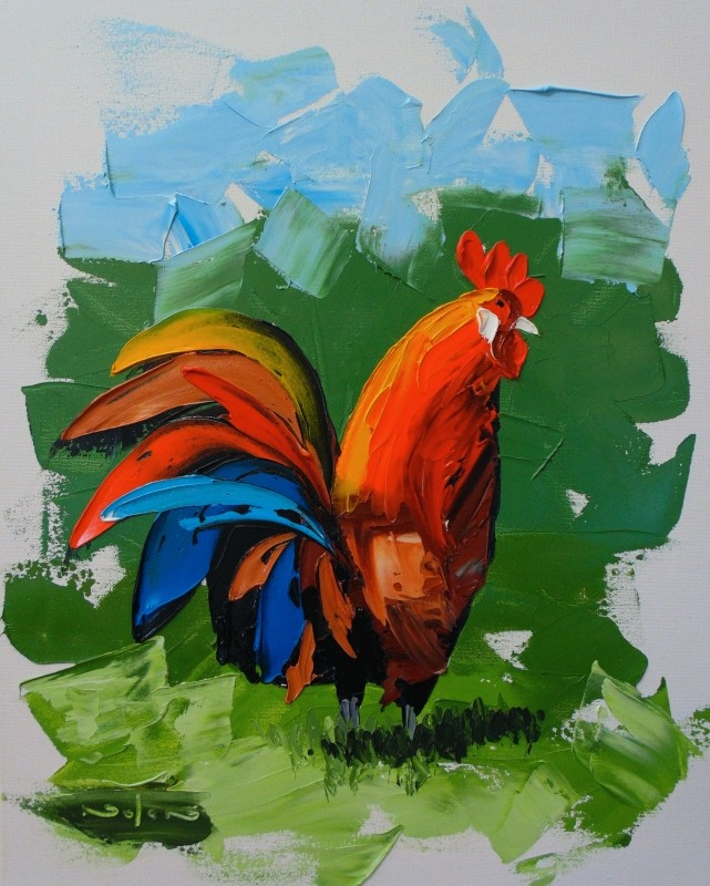 how to paint impasto rooster chicken with water mixable oil paint