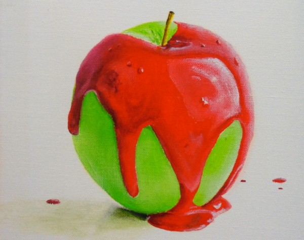 completed apple painting with wet paint drops