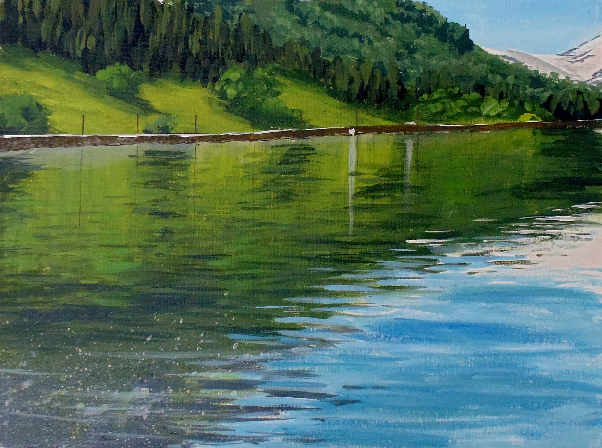 how to paint reflective water in acrylic art by nolan