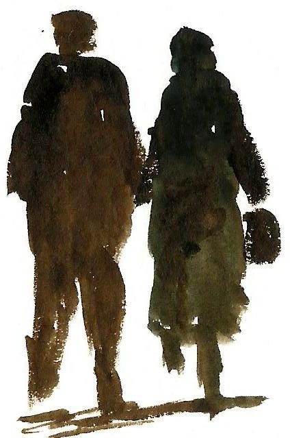 two figures walking in either direction