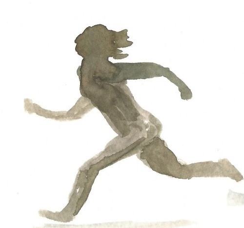 painting of a figure running