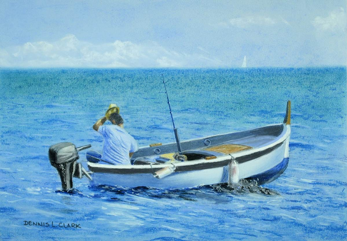 how to draw a fisherman in a boat in pastel online art lessons