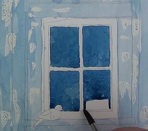 painting the window in watercolor
