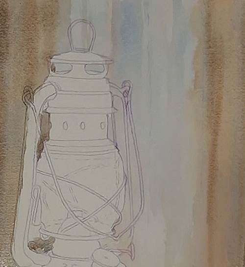 painting the background of the lamp