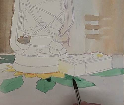 painting the foreground of the hurricane lamp in watercolor