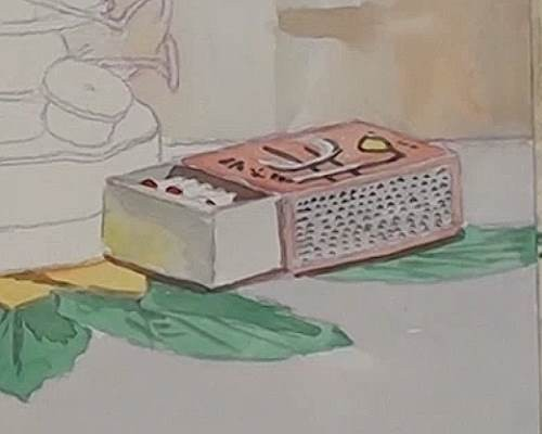 painting the match box of the hurricane lamp in watercolor